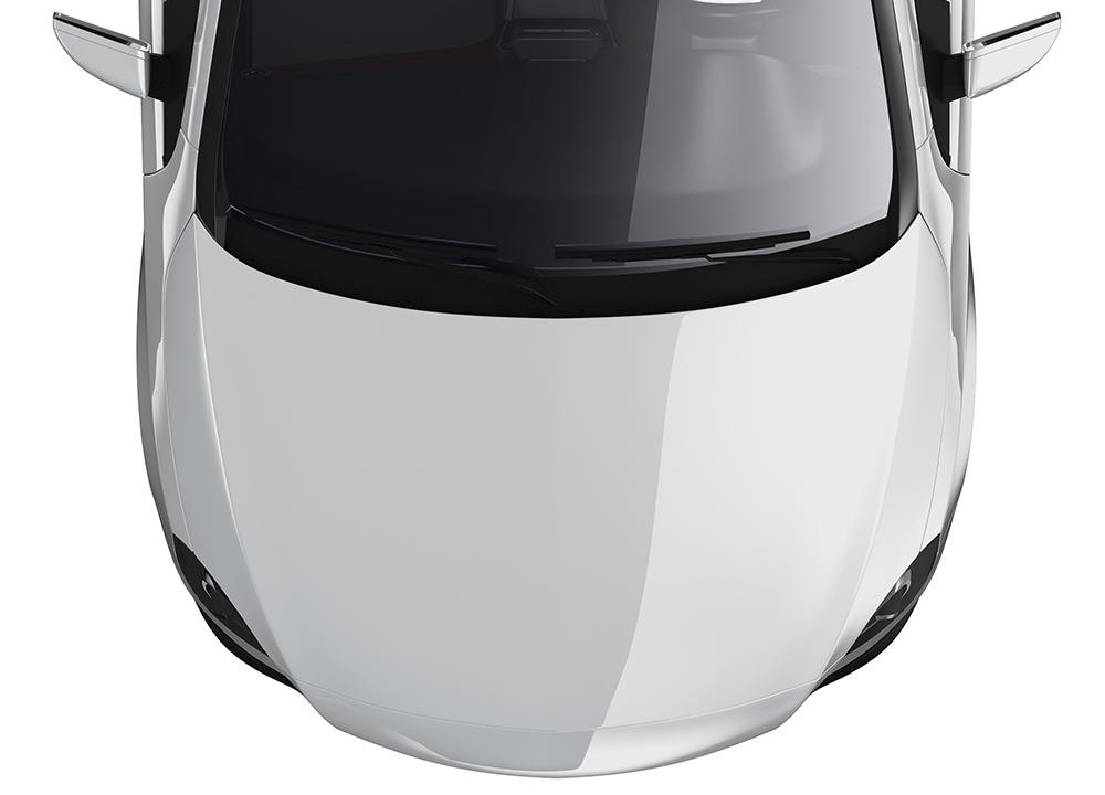 white-car-top-view